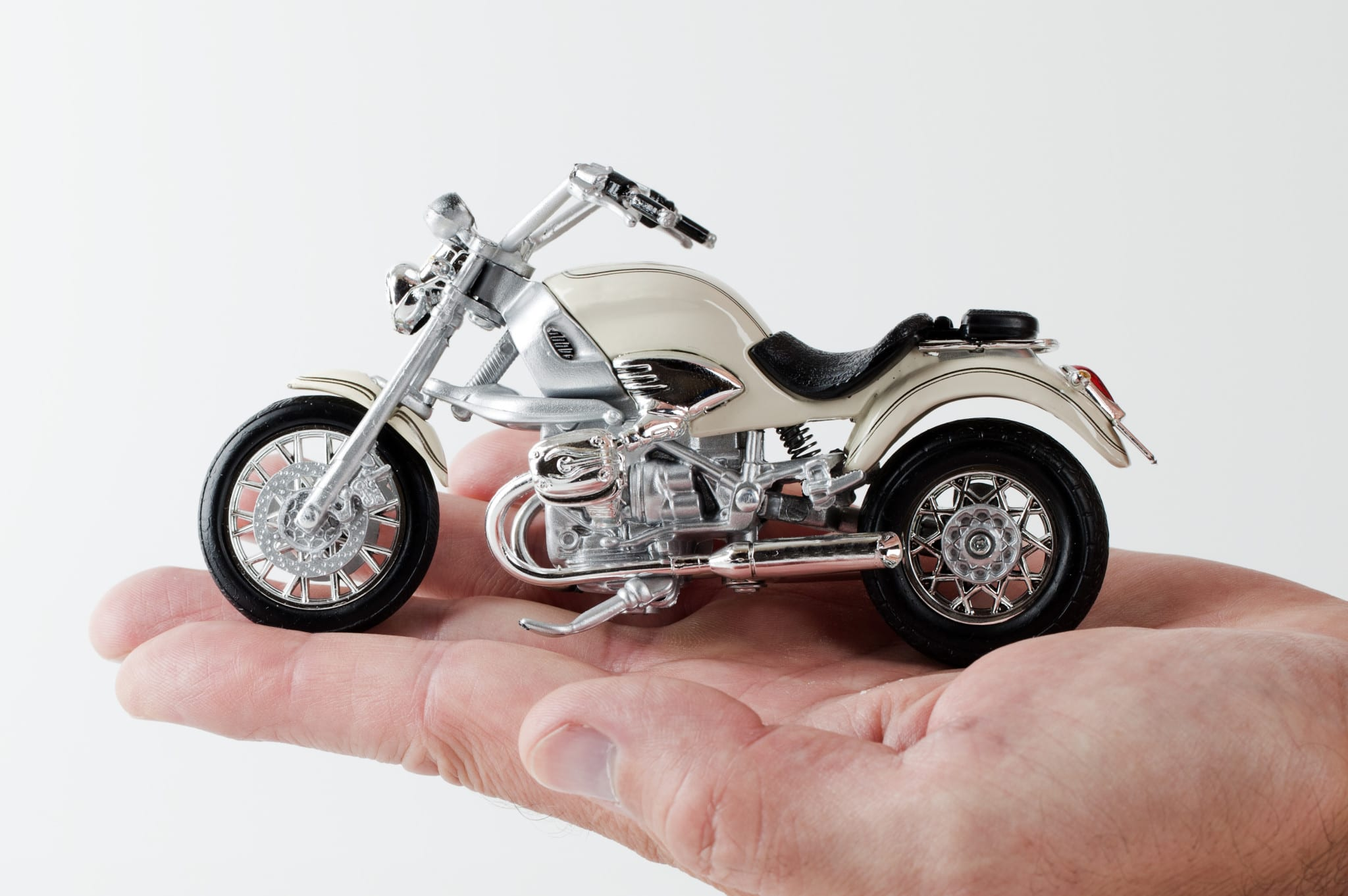 motorcycle on a palm